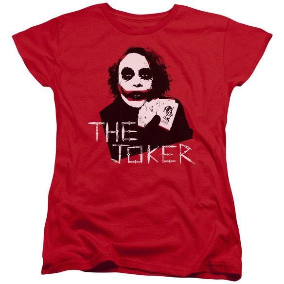 Dark Knight Dagger Clown Short Sleeve Womens Tee Red T-Shirt