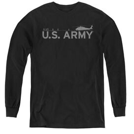 Army Helicopter - Youth Long Sleeve Tee - Black