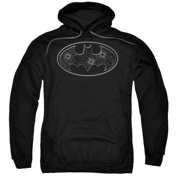Batman Glass Hole Logo Adult Pull Over Hoodie Black