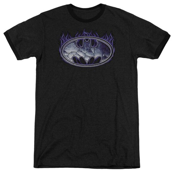 Batman Cracked Shield Adult Heather Ringer