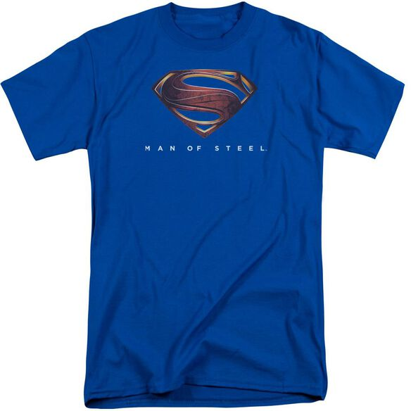 Man Of Steel Mos New Logo Short Sleeve Adult Tall Royal T-Shirt
