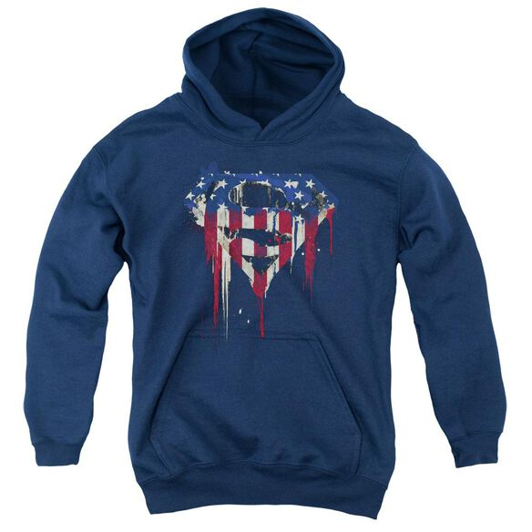 Superman Bleeding Shield Youth Pull Over Hoodie
