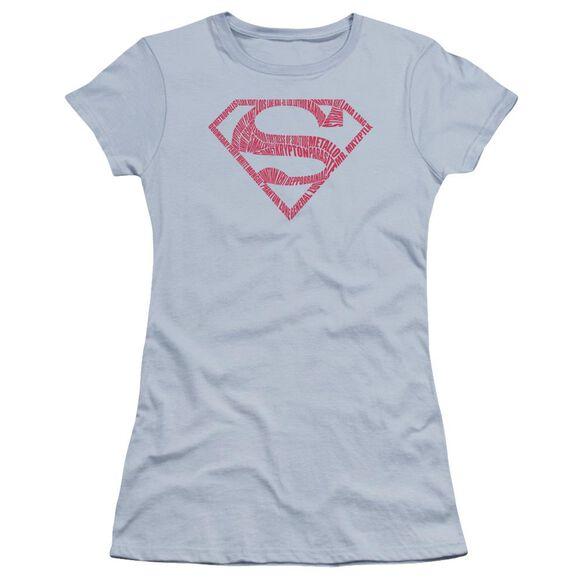 Superman Word Shield Premium Bella Junior Sheer Jersey Light