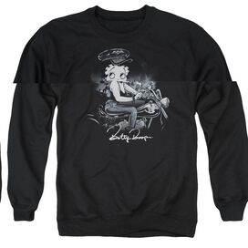 BETTY BOOP STORM RIDER - ADULT CREWNECK SWEATSHIRT - BLACK
