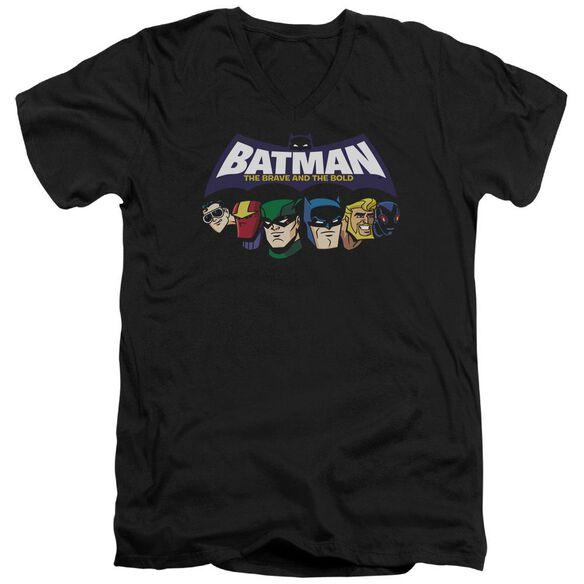 Batman Bb Head Lineup Short Sleeve Adult V Neck T-Shirt