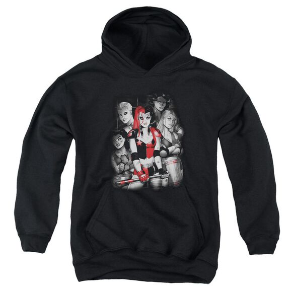 Batman Bad Gals Bw Youth Pull Over Hoodie