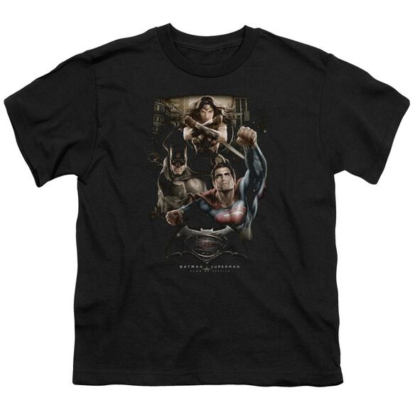 Batman V Superman Three In Action Short Sleeve Youth T-Shirt