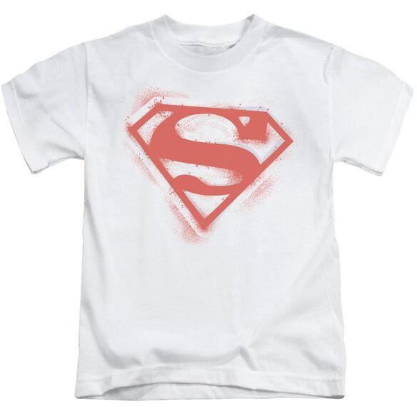 Superman Spray Paint Shield Short Sleeve Juvenile White T-Shirt