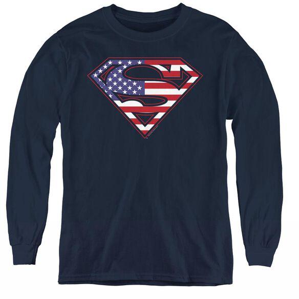 Superman U S Shield - Youth Long Sleeve Tee - Navy