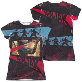 Ninjak Fight (Front Back Print) Short Sleeve Junior Poly Crew T-Shirt