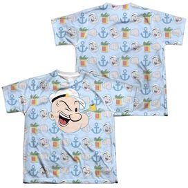 Popeye Symbol Sub (Front Back Print) Short Sleeve Youth Poly Crew T-Shirt