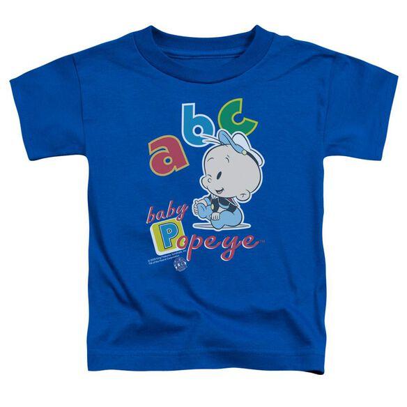 Popeye Abc Short Sleeve Toddler Tee Royal Blue Sm T-Shirt