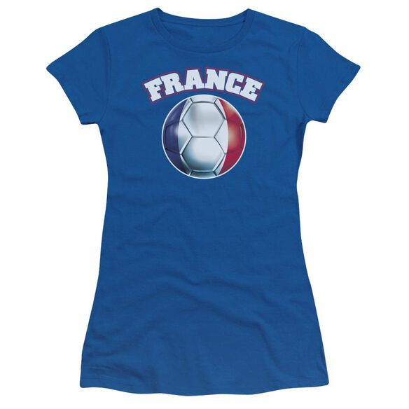 France Short Sleeve Junior Sheer Royal T-Shirt