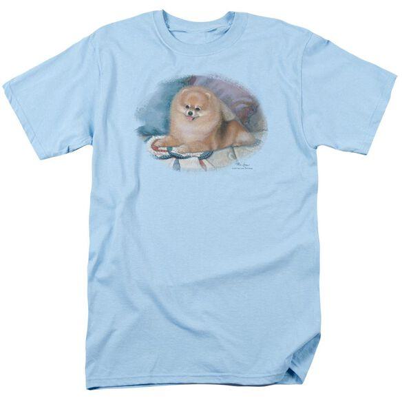 Wildlife Pomeranian Portrait Short Sleeve Adult Light Blue T-Shirt