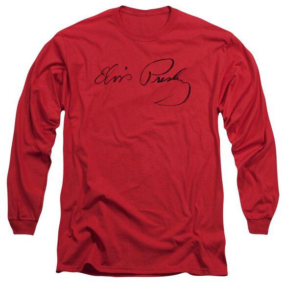 Elvis Presley Signature Sketch Long Sleeve Adult T-Shirt