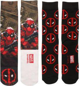 Deadpool Dye and Knit 2 Pack Crew Socks Set
