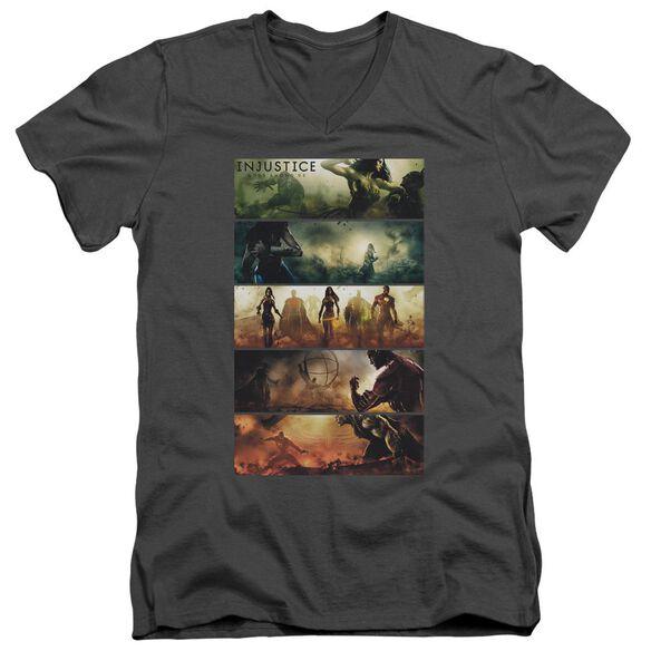 Injustice Gods Among Us Panels Short Sleeve Adult V Neck T-Shirt