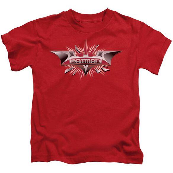 Dark Knight Beveled Chrome Shield Short Sleeve Juvenile T-Shirt