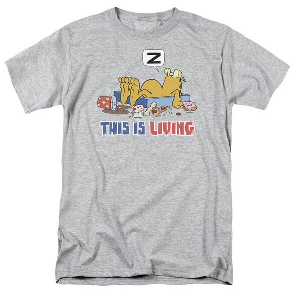 Garfield This Is Living Short Sleeve Adult Athletic T-Shirt
