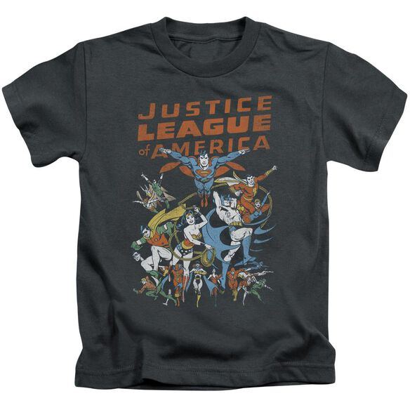 Jla Big Group Short Sleeve Juvenile Charcoal T-Shirt