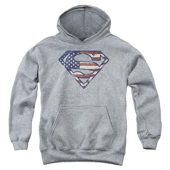 Superman Wartorn Flag Youth Pull Over Hoodie
