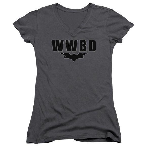Dark Knight Wwbd Logo Junior V Neck T-Shirt