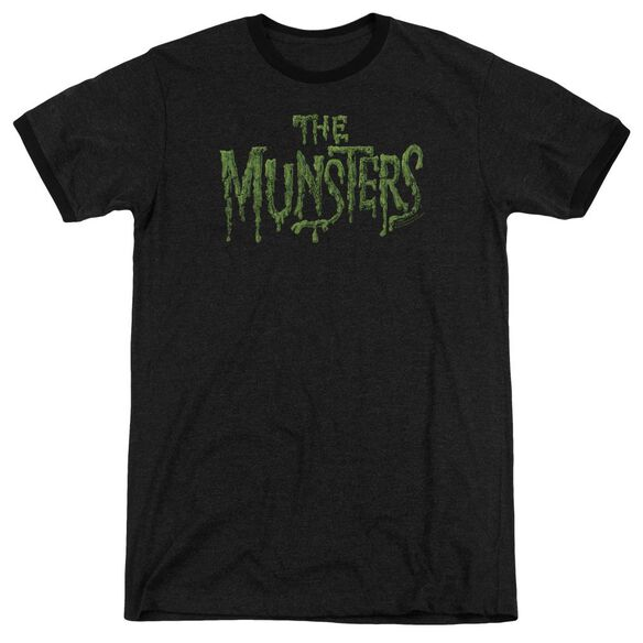 The Munsters Distress Logo Adult Heather Ringer