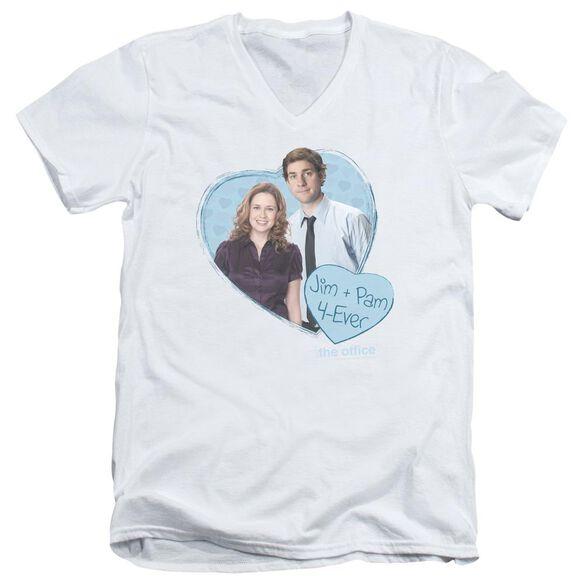 The Office Jim & Pam 4 Ever Short Sleeve Adult V Neck T-Shirt