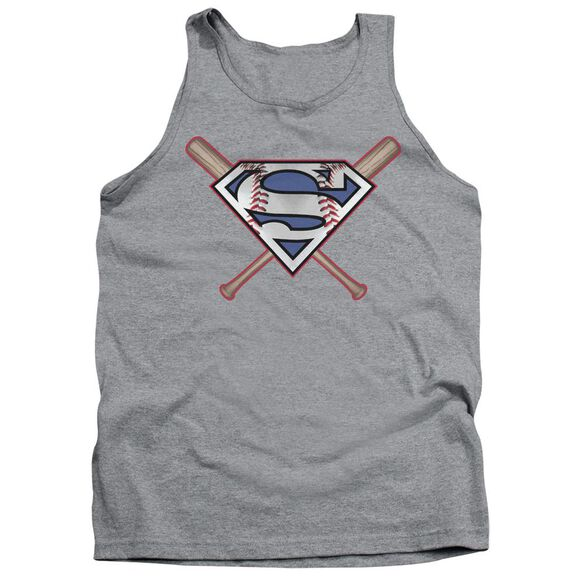 Superman Crossed Bats Adult Tank Athletic
