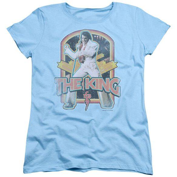 ELVIS PRESLEY DISTRESSED KING-S/S WOMENS T-Shirt