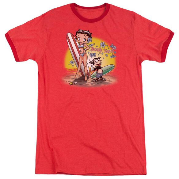 Betty Boop Surf Adult Heather Ringer Red