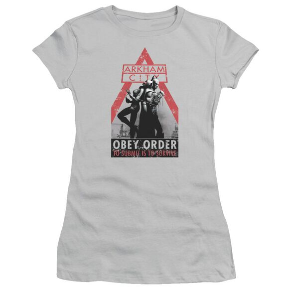 Arkham City Obey Order Short Sleeve Junior Sheer T-Shirt