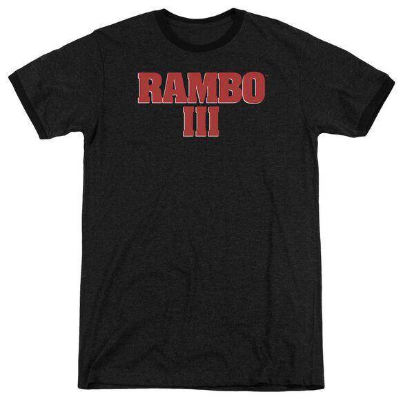 Rambo Iii Logo Adult Heather Ringer Black