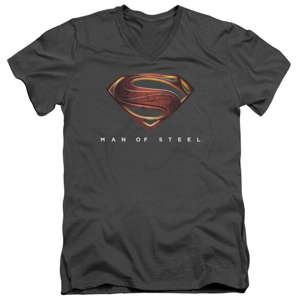 Man Of Steel Mos New Logo Short Sleeve Adult V Neck T-Shirt