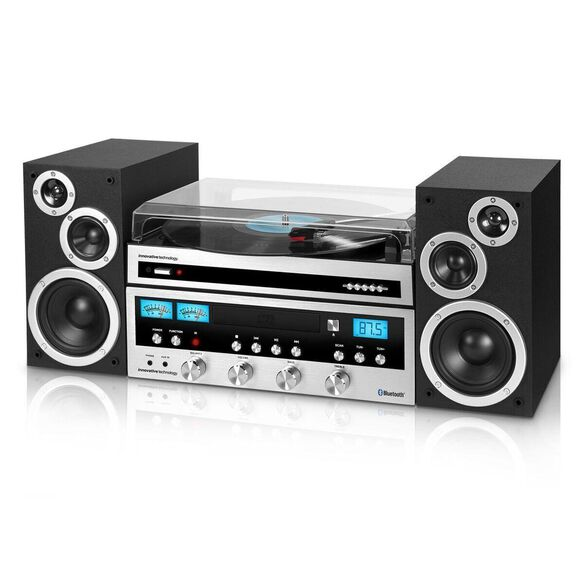 Innovative Technology 50 Watt CD Stereo with Record Player with Bluetooth and 3-speed Turntable