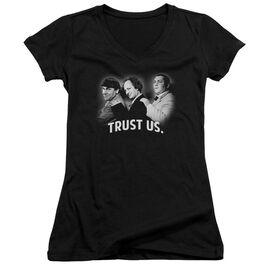 Three Stooges Turst Us Junior V Neck T-Shirt