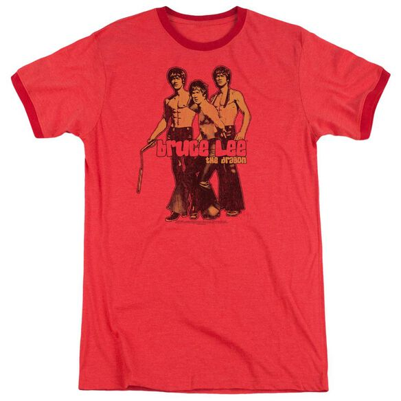 Bruce Lee Nunchucks Adult Heather Ringer Red