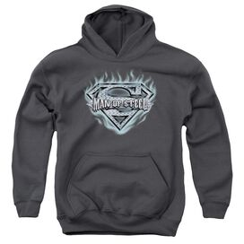 Superman Man Of Steel Shield-youth Pull-over Hoodie - Charcoal