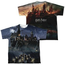 Harry Potter Hogwarts (Front Back Print) Short Sleeve Youth Poly Crew T-Shirt