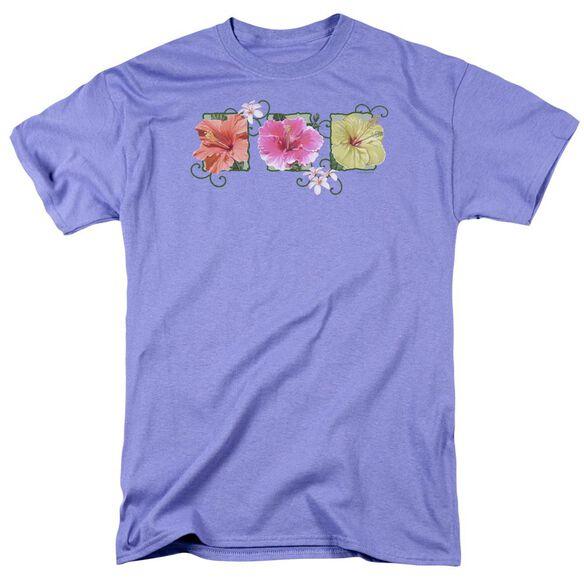 Garden Hibiscus Trio Short Sleeve Adult Lavendar T-Shirt