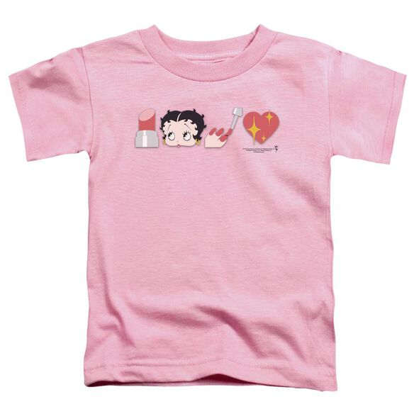 Betty Boop Symbols Short Sleeve Toddler Tee Pink T-Shirt