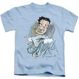 Betty Boop I Believe In Angels Short Sleeve Juvenile Light Blue T-Shirt