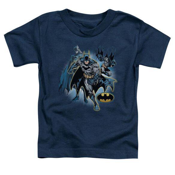 Jla Batman Collage Short Sleeve Toddler Tee Navy Sm T-Shirt