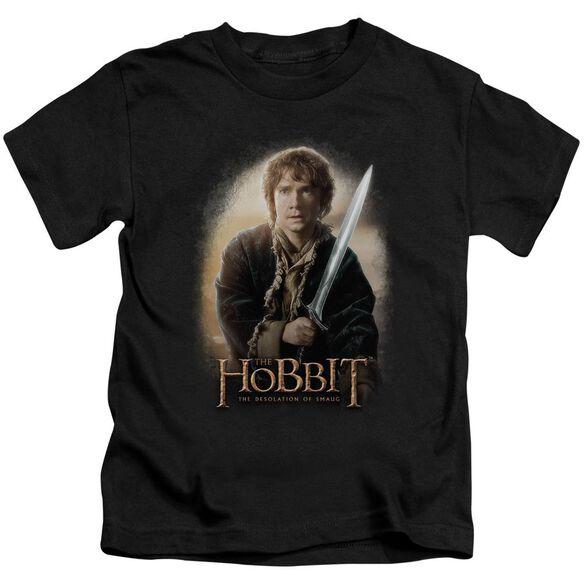 The Hobbit Bilbo And Sting Short Sleeve Juvenile Black T-Shirt