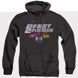 2 Fast 2 Furious Logo - Adult Heather Hoodie - Black - Sm - Black