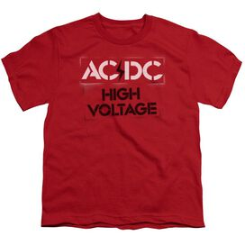Acdc High Voltage Stencil Short Sleeve Youth T-Shirt