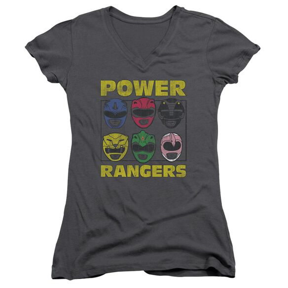 Power Rangers Ranger Heads Junior V Neck T-Shirt