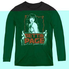 BETTIE PAGE BETTIE SCARY HOT - WOMENS LONG SLEEVE TEE - BLACK