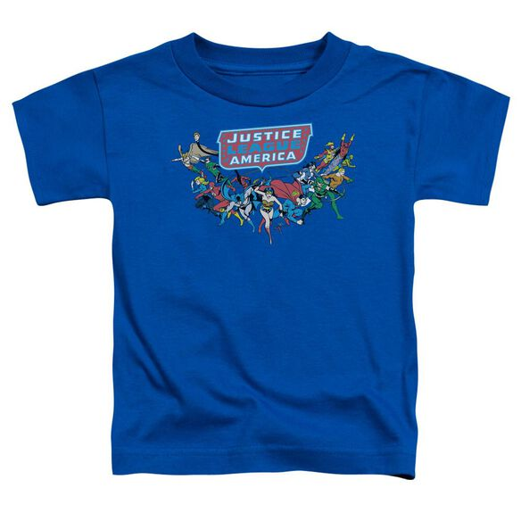 Dc Here They Come Short Sleeve Toddler Tee Royal Blue T-Shirt