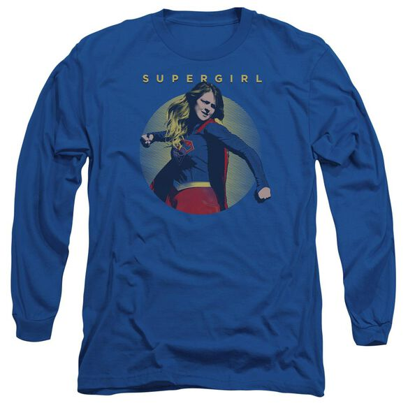 Supergirl Classic Hero Long Sleeve Adult Royal T-Shirt